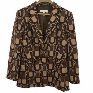 Escada Geometric Lined Wool Blend Blazer Jacket